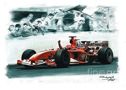 2004, Ferrari F2004,  Michael Schumacher,  Rubens Barrichello,  Ferrari F1 collection ART by Artem Oleynik. This collection demonstrating Ferrari F1 racing cars since 1950 to 2016 and includes 96 pictures in oil on canvas. The size of each original picture is 25 x 35 cm.