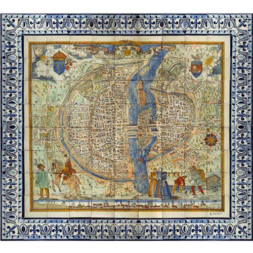 Mural Map of Paris, France