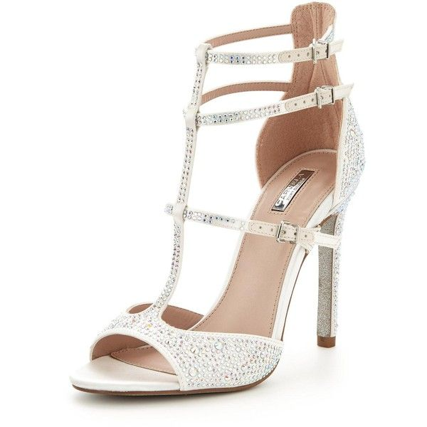 Carvela Gemma Wedding High Heeled Sandal ($180) ❤ liked on Polyvore featuring shoes, sandals, cream sandals, stiletto heel sandals, cream shoes, bridal shoes and bridal sandals