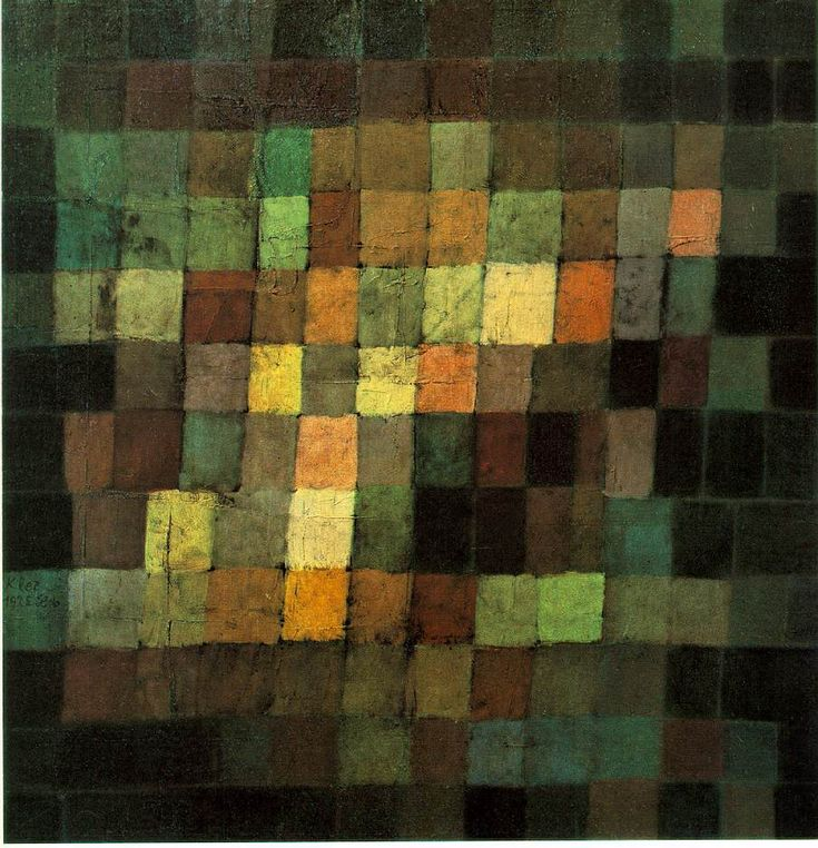 Paul Klee, Ancient Sound, Abstract on Black 1925 Oil on cardboard 15 x 15 in. Kunstsammlung, Basel