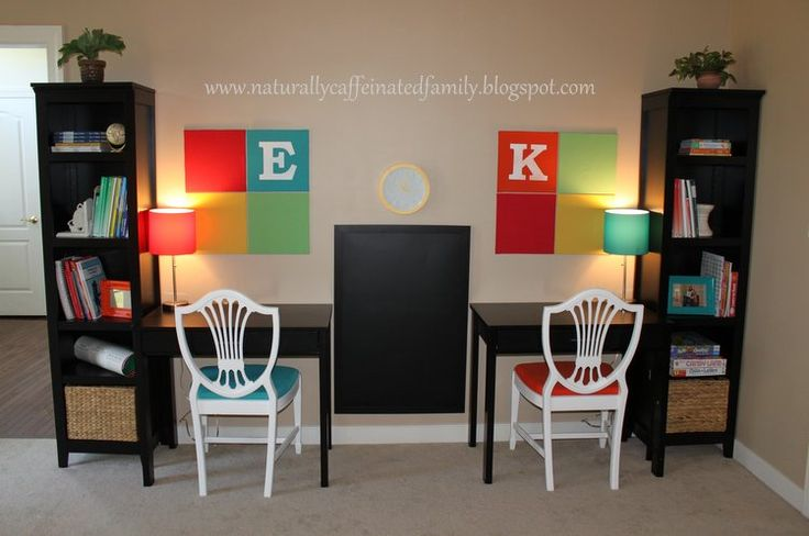 Awesome homework station 3  -  If your kids' workspace is going to be in a main room in your home, you want it to be functional for them, yet still visually appealing for both adults and children. This one uses sleek, black furniture to blend in with the rest of the home, but adds bright punches of color and a chalkboard to make the space perfectly kid-friendly