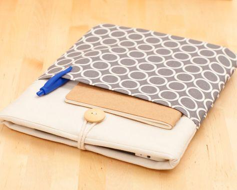 iPad Air case, iPad cover, iPad sleeve, padded - circles with pockets - on Etsy, $29.50