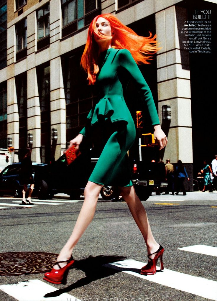 Neon Hair Career Women in US Vogue Sep 2012 'Her Brilliant Career'  Photographer: David Sims Model: Karlie Kloss Fashion Editor: Grace Coddington Hair: Guido Palau Make-Up: Diane Kendal