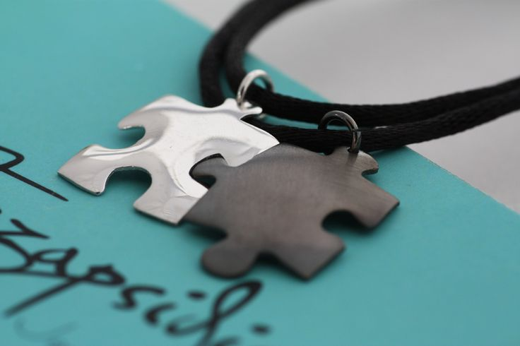 Puzzle Pendant - Sterling Silver platinum and black rhodium plated - Handmade -