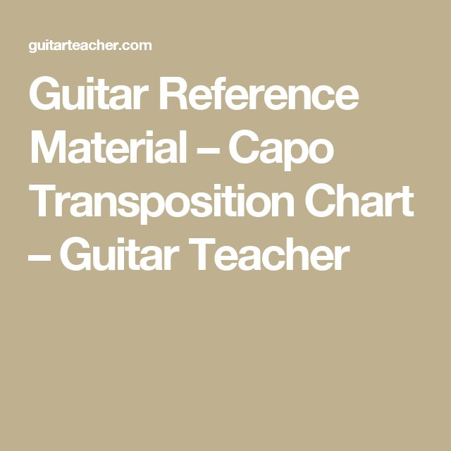 Guitar Reference Material  Capo Transposition Chart  Guitar