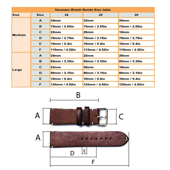 Handcrafted leather watch strap 22mm Vegetable tanned leather