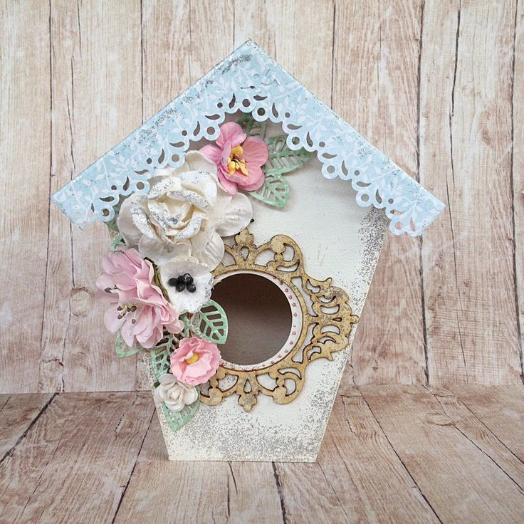Malutki domek dla ptaków w stylu Shabby Chic, scrapbooking, paper craft, crafting, craft ideas, paper flowers, Bird House