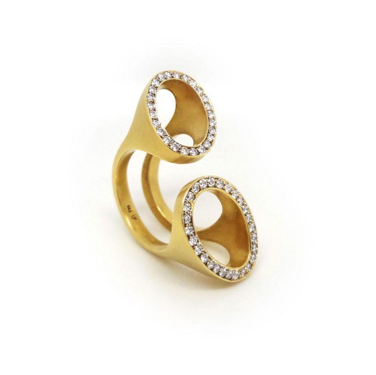 Angela Hubel - Gold & Diamond Double Oval Ring - ORRO Contemporary Jewellery Glasgow - Modern Sculptural Gold & Diamond Rings by Angela Hubel at ORRO