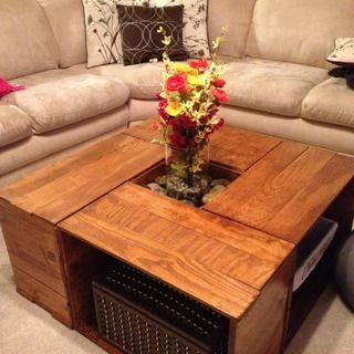 Sit back and put your feet up on this rockin #DIY coffee table created from #reused crates