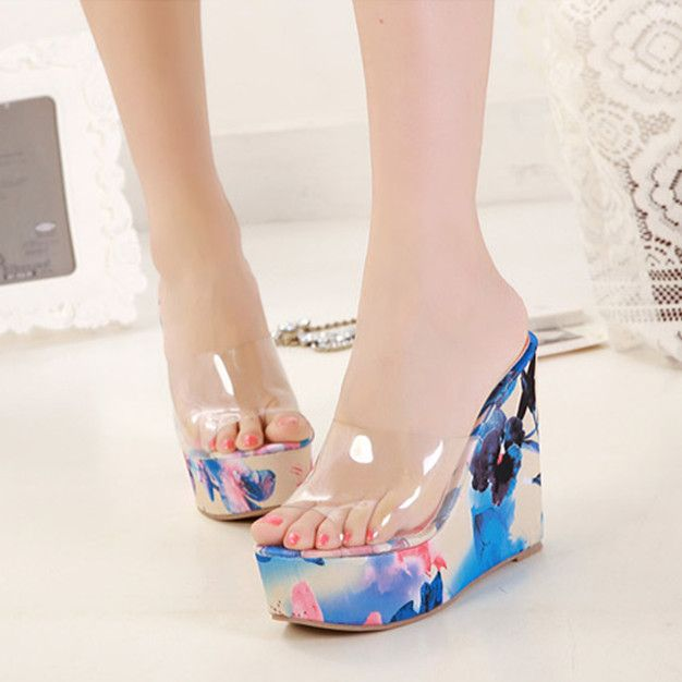 Women Sandals Platform High Heel Flip Flops Plastic Sandals Wedges Slippers Fashion Brand Shoes For Woman Beach Shoes New S3023