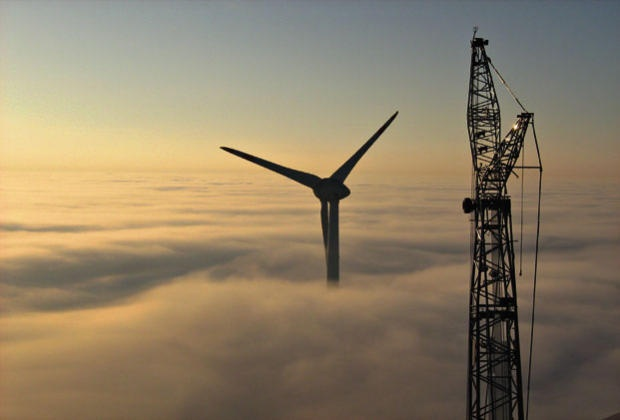 German manufacturer Enercon has recently constructed the largest wind turbines in the world. The 198 meter (650 ft) high turbines needed a special 1,600-ton crane to lift its rotors into place. Five of 11 planned E-126 turbines are currently in operation. All 11 turbines are due to be installed by July 2012.