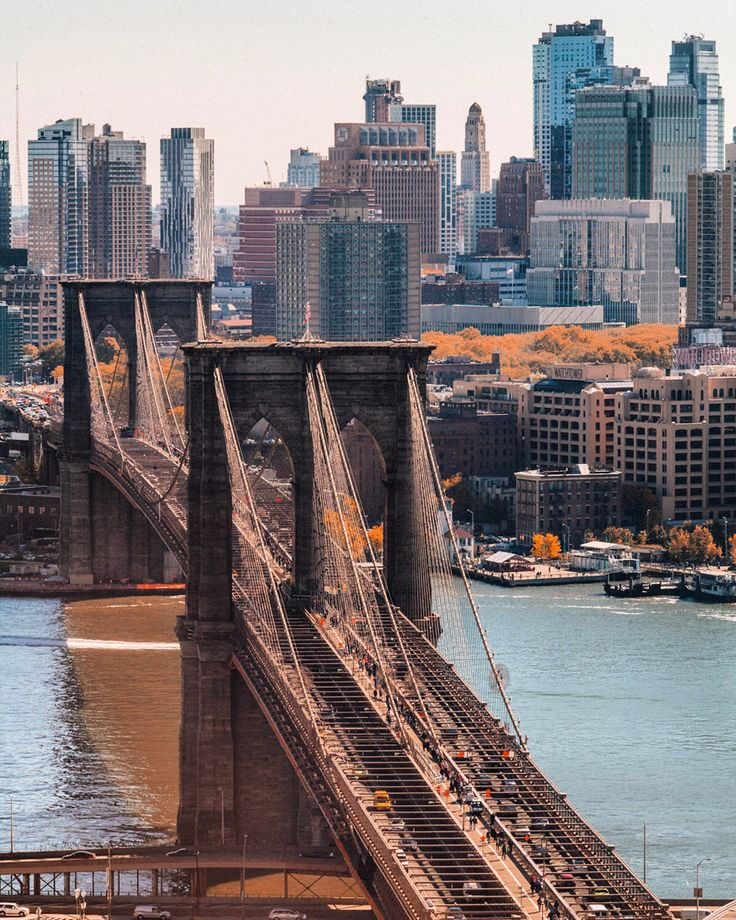 NYC. Brooklyn Bridge from above, looking South