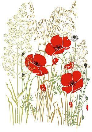 Poppy Stencils Small Poppies Stencil Theme Pack