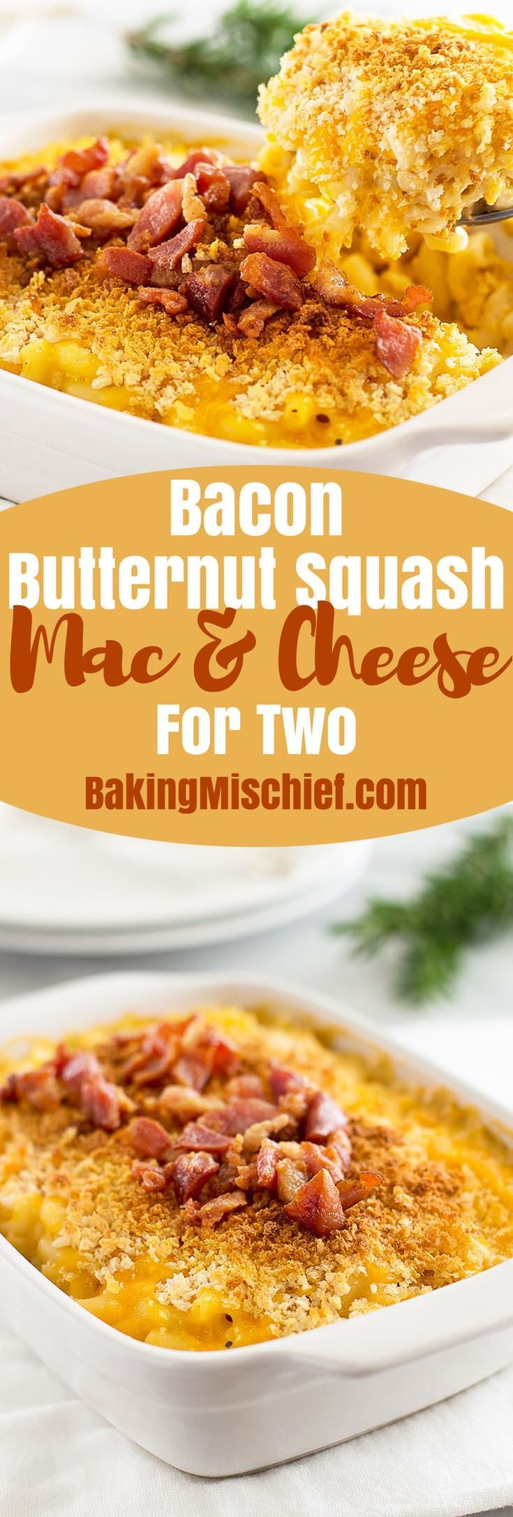 This smokey, creamy Bacon Butternut Squash Mac and Cheese for Two is made with butternut squash roasted in bacon drippings, crunchy panko, and sharp Cheddar cheese. Recipe includes nutritional information. From BakingMischief.com