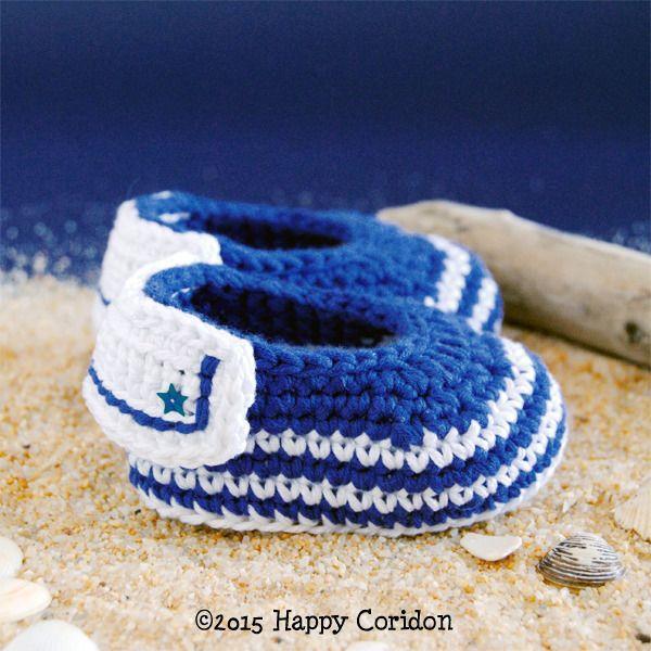"""Scarpe bebè all'uncinetto """"marinaio"""" : Moda bebè di happycoridon"""