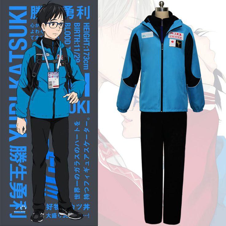 Yuri op ice katsuki yuri cosplay kostuum mannen sport pak blauwe jas + zwart top + zwarte broek volledige set anime cos sportwear outfit