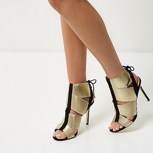 River Island Gold Black Elastic Strap Sandals - UK 5 EUR 38  #RiverIsland #BootsSandals