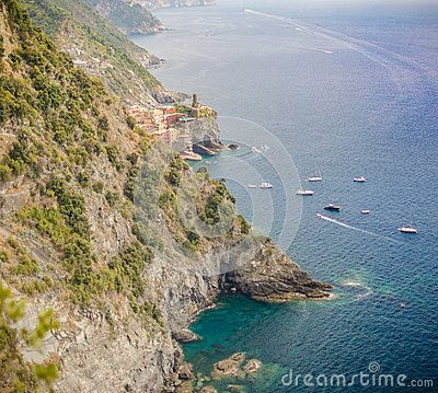 Far away view from Monterosso to Vernazza - Cinque Terre, Italy