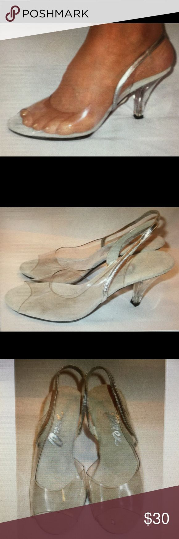 """Evening shoes  - Onex clear & silver spike heels Perfect for any special occasion. Toe vamp is clear. Sling back and sole edge are silver.  3"""" lucite heel. Pale gray suede inner sole. New, never worn.   (047) Onex Shoes Heels"""
