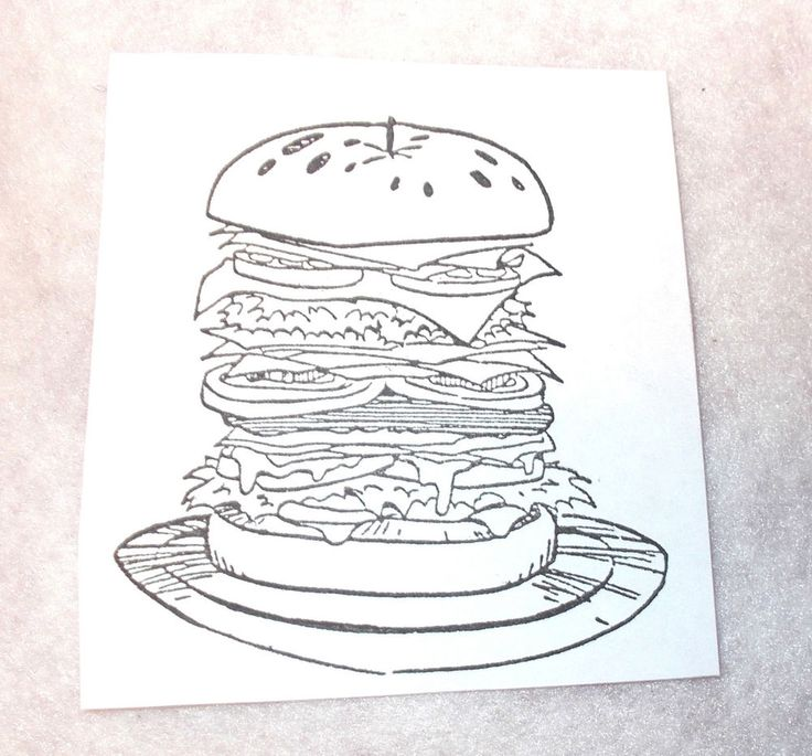Food hamburger big sandwich rubber stamp buns lettuce cheese picnic foods burger