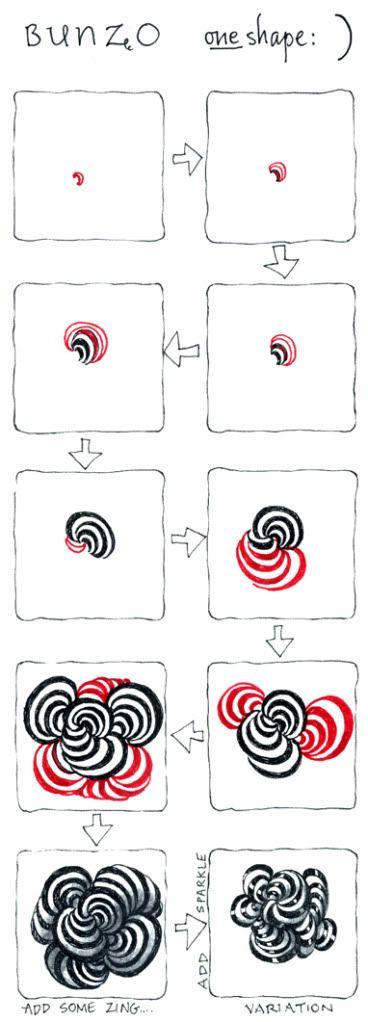 Zentangle Newsletter: Bunzo shape tutorial http://archive.constantcontact.com/fs119/1101168872594/archive/1111336671154.html
