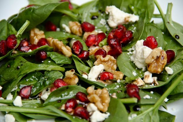Spinach, pomegranate, walnut, feta