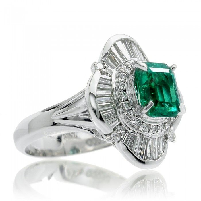 http://rubies.work/0163-ruby-rings/ Emerald ring baguette ballerina halo design platinum band