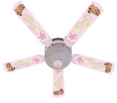 """Baby Nursery Toys Blocks Pink Ceiling Fan 52"""""""""""