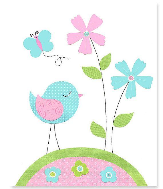 Bird Nursery Art Girl's Room Decor Aqua by SweetPeaNurseryArt