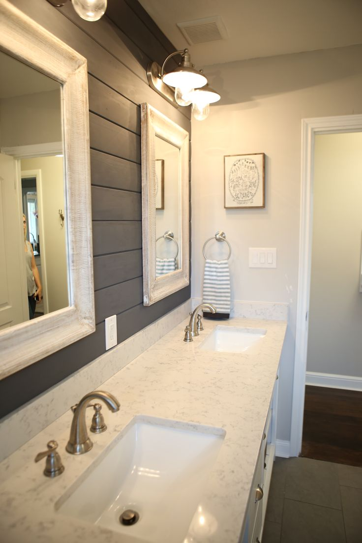My Husband And I Completely Updated Our Bungalow Bathroom With White Subway  Tile, World Market Accents And A Navy Wood Wall. Clean, Simple And Fresh!