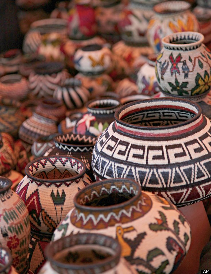 This 2011 photo provided by the Santa Fe International Folk Art Market shows handwoven baskets from the Wounaan National Congress in Panama.
