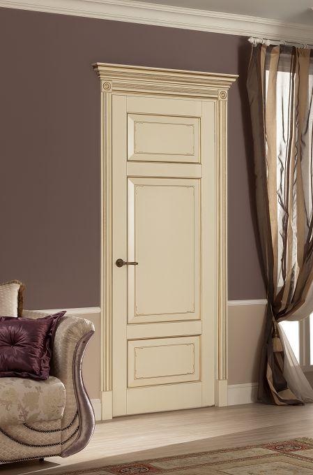 Межкомнатные двери Волховец, Royal 6221 глухая , шпон слоновая кость с позолотой, фото двери в интерьере