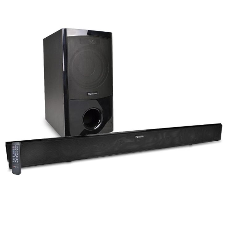 Nakamichi NK6 38 2.1-Channel 300W Bluetooth Surround Sound Bar Home Theater System w-Wired Subwoofer (Black) - B