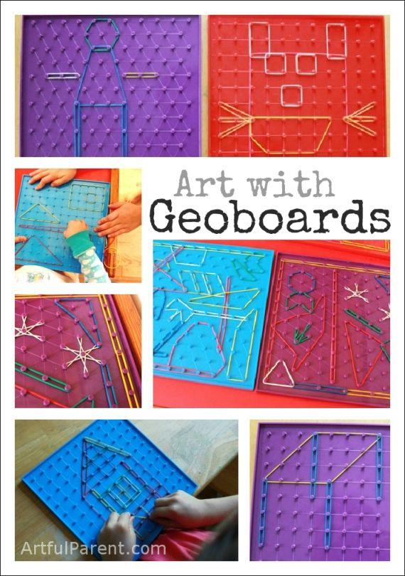 Perceptual & fine motor activities with geo-boards.
