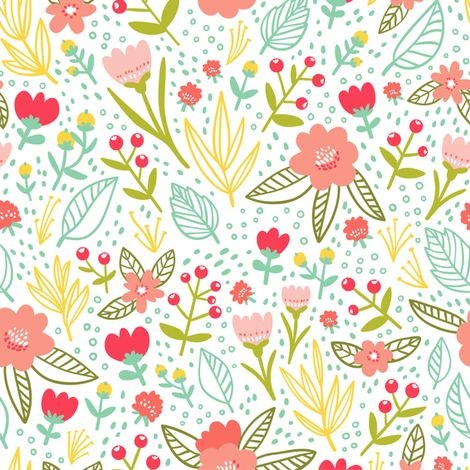 Floral pattern fabric by stolenpencil on Spoonflower - custom fabric