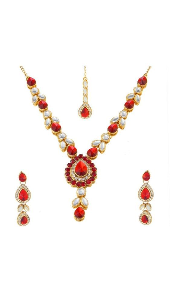 Party Wear Red Stone Gold Plated Indian Bollywood Kundan Necklace Earring Set #natural_gems15