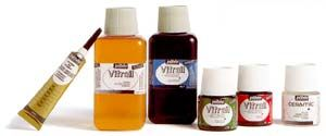 Pebeo Vitrail Glass Paint. Pebeo's Vitrail is a solvent based, transparent paint for creating brilliant stained glass effects on all carefully degreased transparent bases. It also creates magnificient illuminations on metal. Also, available on Amazon.