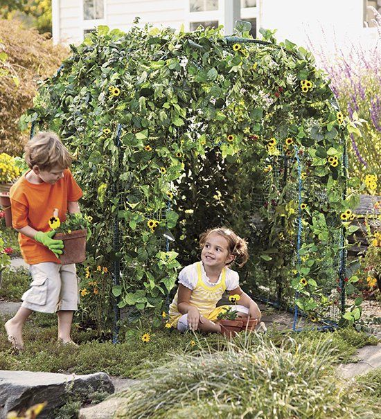 Garden Fort with vines or sunflowers for kids from Hearthsong - see it at SmallforBig.com >> WAY cooler than a cubby house!