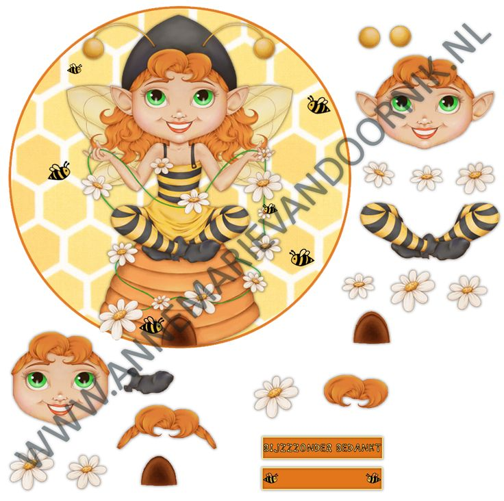 3D knipvel Bee Girl 3D kaart maken, 3D cutting paper Bee Girl making a 3D card. Free printable!