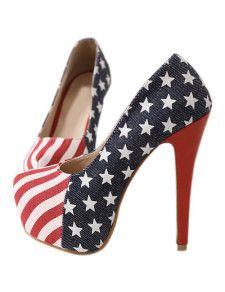 Tacones de paño la mujer del patrón de bandera sexy  SHet!!!!!!!!!!!!!!11