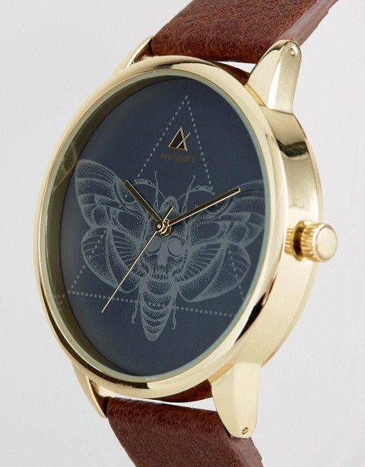 Cute ASOS Watch With Brown Faux Leather Strap And Moth Design at asos