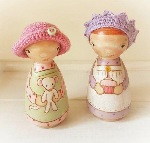 Sweet peg dolls wearing crochet hats