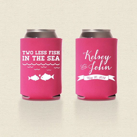 two less fish in the sea wedding koozies design 2 wedding favor pick your