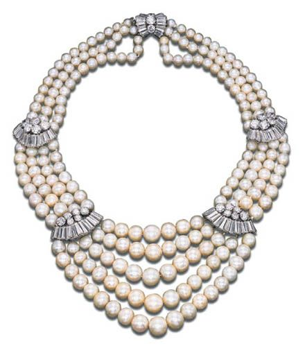 AN ELEGANT PEARL AND DIAMOND NECKLACE, BY BULGARI   The front section composed of five strands of pearls to the four-strand shoulders and three-strand backchain, the pearls measuring approximately from 5.35 to 10.00 mm., with circular and baguette-cut diamond undulating intersections, mounted in platinum, 38.5 cm., with French assay marks  Signed Bulgari   With certificate 35328 dated 22/3/2000 from the SSEF Swiss Gemmological Institute stating that the 208 pearls are natural