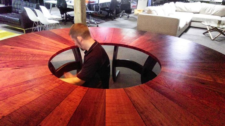 Here's a sneak peek of the installation of a stunning boardroom table we made  for an advertising company in Ultimo Sydney. The goal was to create something that represents their donut shaped logo , keep a look out for more photo's next week #customfurniture #Hardwood #australianhardwood #redgum #ausmade #bespoke