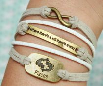 Karma bracelet- Bronze Will Pisces bracelet, Grey Flocking Bracelet, White Flocking braided Leather bracelet , friendship bracelet best gift...