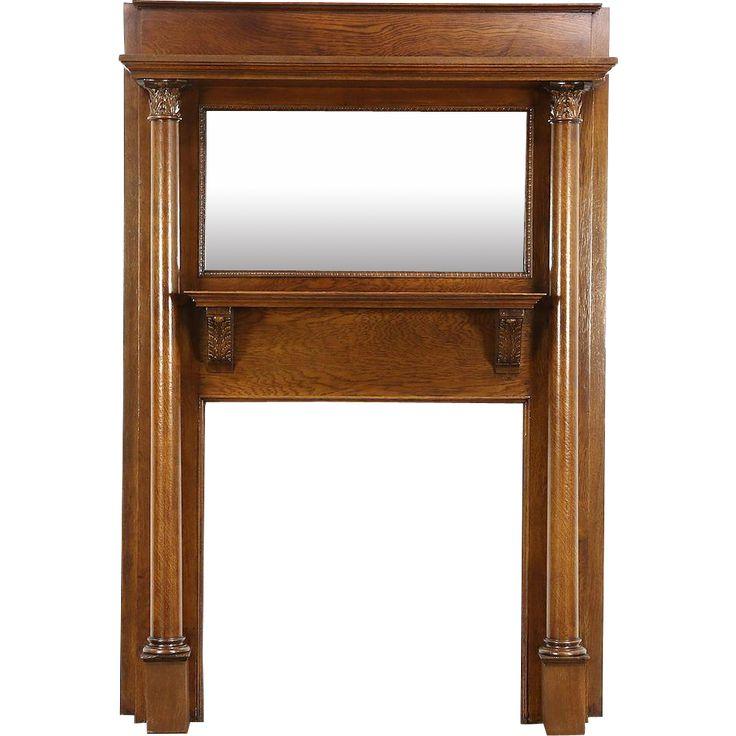 Victorian Oak Architectural Salvage Antique Fireplace Mantel, Mirror, Columns