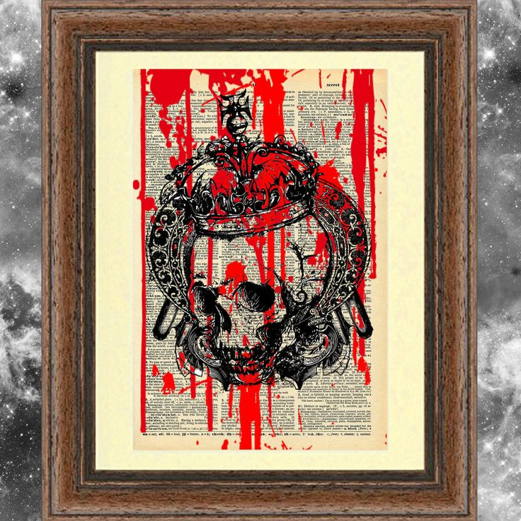MOUNTED Art print on dictionary page Gothic Steampunk Skull blood crown decor