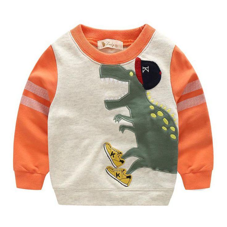 Baby Boys T shirt 2016 Autumn Cartoon Dinosaur Girls Boys Baby T-shirts Long Sleeve Fall Kids Baby Boy Clothes T shirt Top Brand