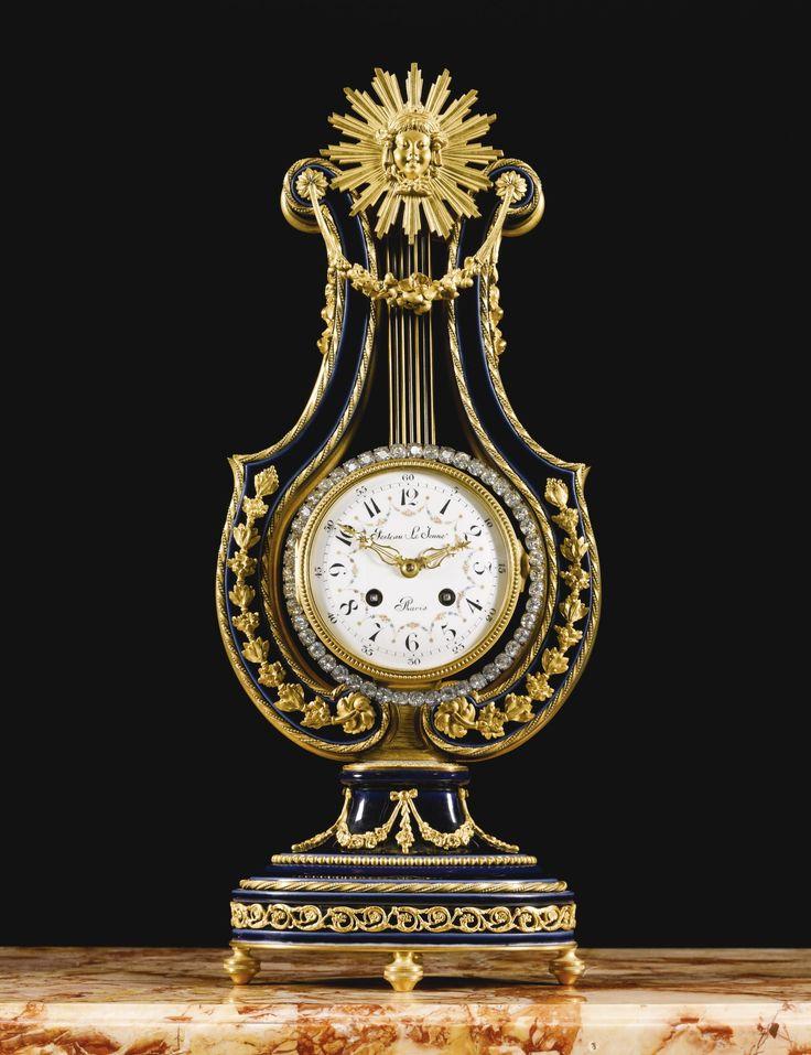 louis xvi louis xvi style giltbronze mounted cobalt blue ground svres style porcelain lyre shaped mantle clock paris last quarter century - Mantle Clock